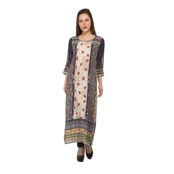 Multicolor printed cotton stitched long-kurtis