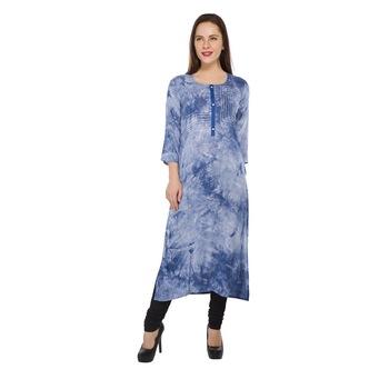Blue printed cotton stitched long-kurtis