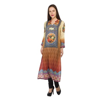 Multicolor printed crepe stitched long-kurtis