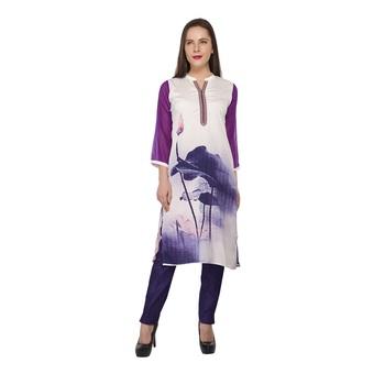 Purple printed cotton stitched long-kurtis
