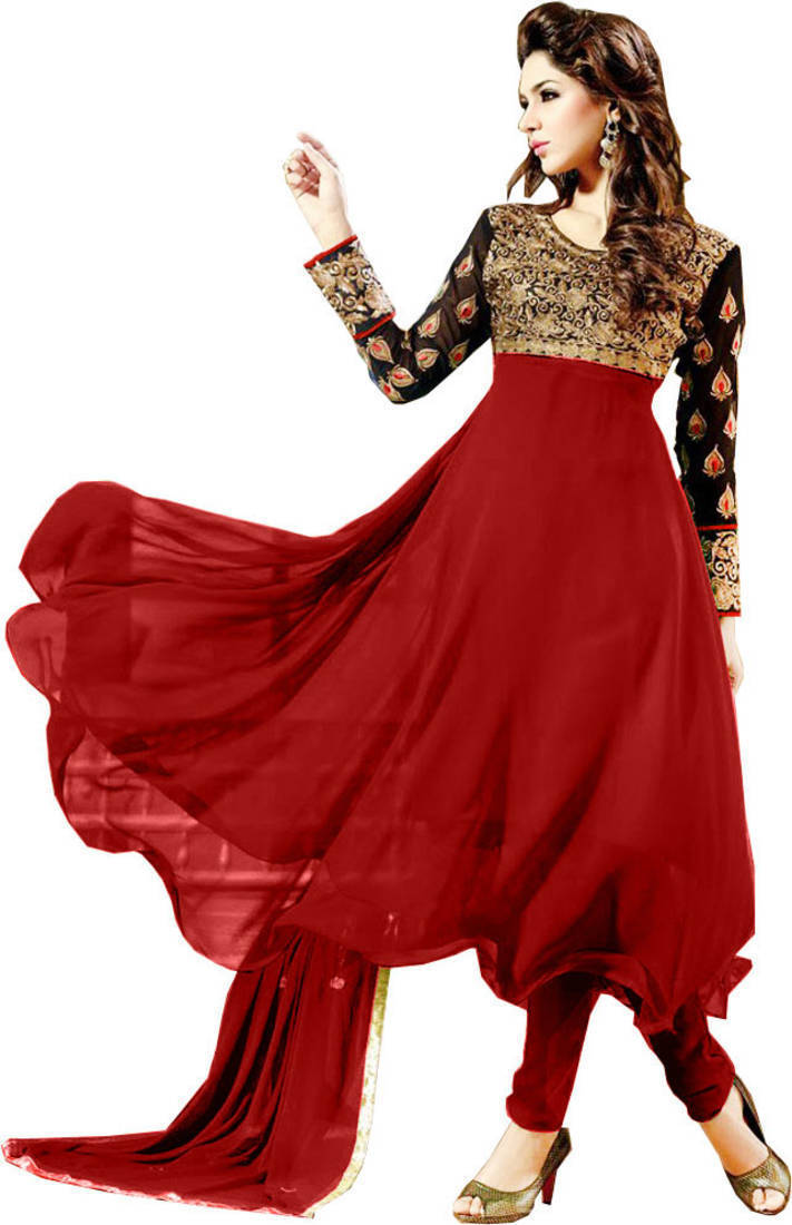 303fd8e8c85d1 Styles Closet Maroon And Black Designer Frock Style Anarkali Suit ...