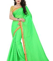 Buy green Plain Chandery cotton Saree With Blouse chanderi-saree online