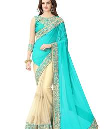 Buy Turquoise embroidered georgette saree with blouse designer-embroidered-saree online