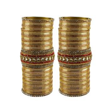 Golden Stone Stud Brass Bangle Set