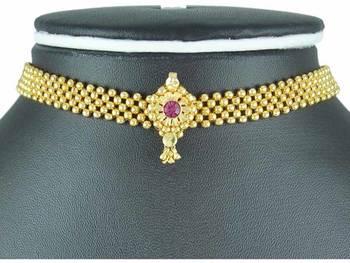 kolhapuri golden copper thushi necklace