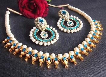 Sea Blue Pearl Polki Necklace Set