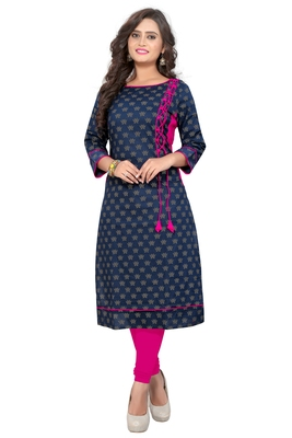 Navy blue printed cotton party-wear-kurtis