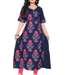 Navy blue printed rayon party wear kurtis