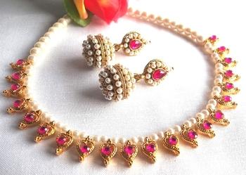 Dark pink Heart Gota Pearl Necklace set