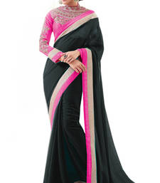 Buy Black with Embroidery Zari work Heavy Blouse Partywear Saree chiffon-saree online