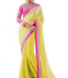 Buy Yellow with Embroidery Zari work Heavy Blouse Partywear Saree chiffon-saree online