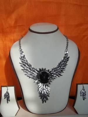 ilver oxidised tribal necklace set with matching earrings