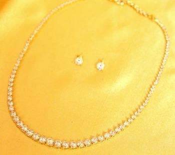 Diamond Look Single Line Diamond Look Signity Necklace Set