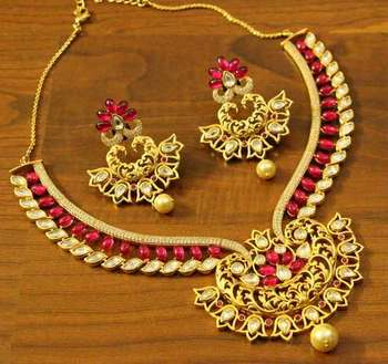 Ruby Kempu Stone Kundan Diamond Look Necklace Set