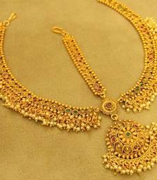 Gold Plated Multicolour Polki & Pearl Bridal Maang Tikka