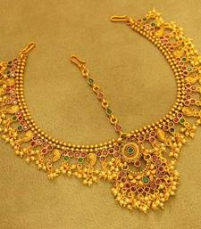 Multicolour Gold Matt Finish Polki Bridal Maang Tikka