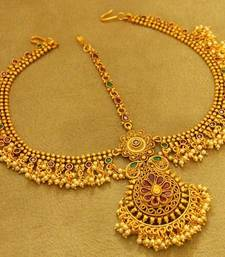 Multicolour Gold Plated Matt Finish Bridal Maang Tikka
