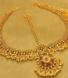 Buy Multicolour Matt Finish Gold Look Bridal Maang Tikka maang-tikka online