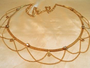 designer kundan gold plated waist belt