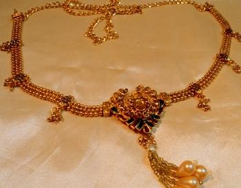 royal polki gold plated waist belt
