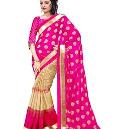 Buy Light rani pink printed bhagalpuri saree with blouse bhagalpuri-silk-saree online