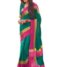 Buy Green printed cotton silk saree with blouse cotton-silk-saree online