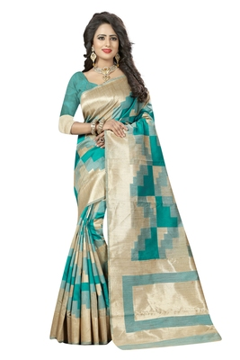 Green printed silk saree with blouse