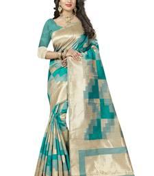 Buy Green printed silk saree with blouse uppada-saree online