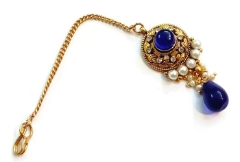 Blue Pearl Polki Maang Tikka