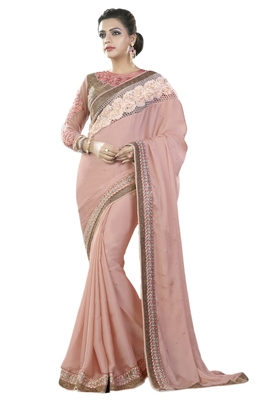 Light brown embroidered silk blend saree with blouse