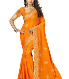 Buy Saffron embroidered silk blend saree with blouse south-indian-saree online