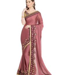 PINK EMBROIDERED TWO TONE CHIFFON SAREE WITH BLOUSE