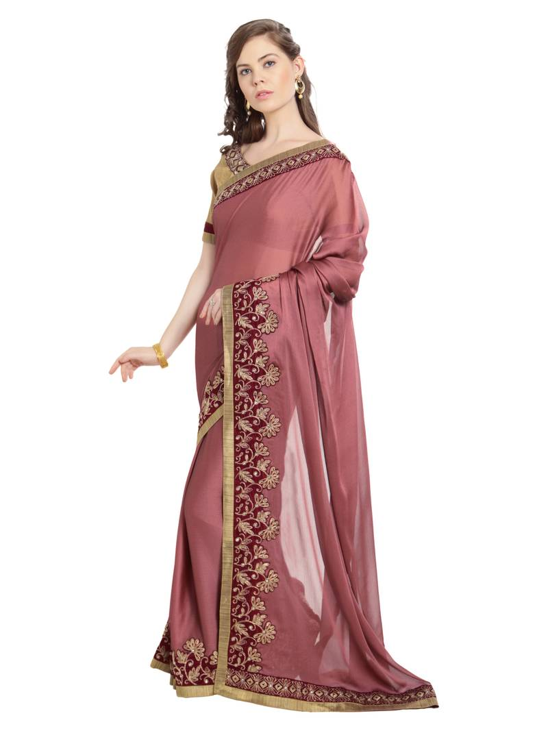 ded0505a9b PINK EMBROIDERED TWO TONE CHIFFON SAREE WITH BLOUSE - Indian Women ...