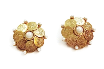 White coin studs earrings