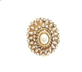 White pearl polki ring adjustable