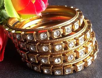 Golden Stone Bangles Set Of 4