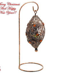 Buy Bird Nest Wrought Iron Tea Light Holder with Colored glass christmas-decoration online