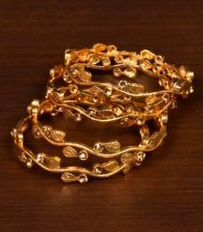 Gold Plated Zircon Stone Embellished Bangle Set for Women