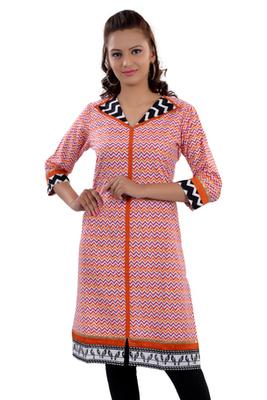 Orange Jaipuri Printed Cotton Casual Wear Kurti