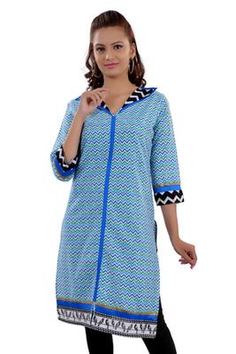 Blue Jaipuri Printed Cotton Casual Wear Kurti