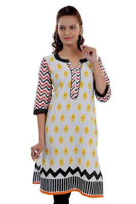 White  Jaipuri Printed Cotton Casual Wear Kurti