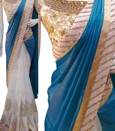 Buy Off white embroidered georgette saree with blouse designer-embroidered-saree online