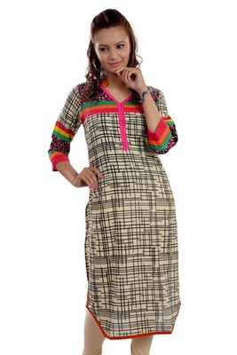 Multicolor Jaipuri Printed Cotton Casual Wear Kurti