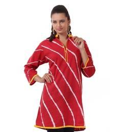 Buy Red Hand Lehariya Design Casual Wear Cotton Kurti plus-size-kurtis online