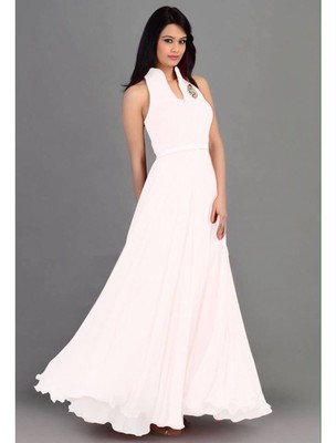 be0b9b6f5b White plain georgette semi stitched party-wear-gowns - Craftliva - 430705