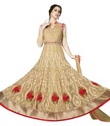 Buy Beige embroidered Net unstitched salwar with dupatta dress-material online