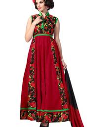 Buy Maroon embroidery  banglori silk unstitched salwar with dupatta dress-material online