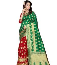 Buy Green  and  red printed banarasi silk saree with blouse party-wear-saree online