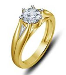Buy 14K Gold Plated White Cubic Zirconia Solid Solitaire Ring For Women gemstone-ring online