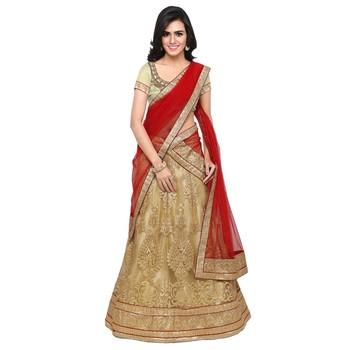 73e43974148 Gold embroidered net unstitched lehenga - Rajesh Silk Mills - 2334223